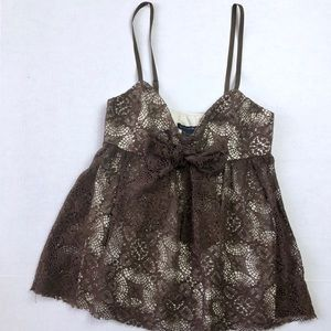 Boston Proper • Mixed Crochet Tank Top with Bow